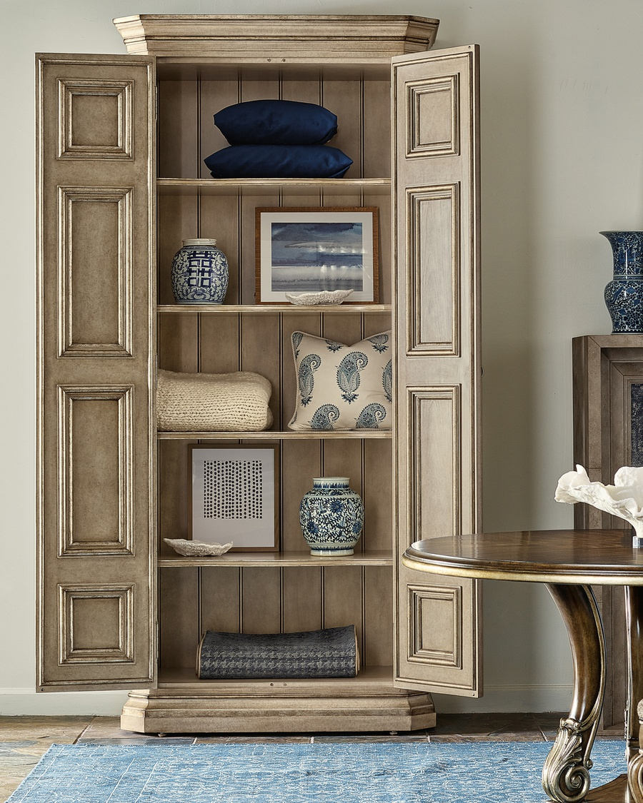 Majorca Armoire shown with:Dapple finishVersailles finish trimAntique Bronze / Antique Nickel hardware