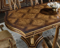 Majorca Dining Table shown with:Briar finishVenetian Gold finish trim