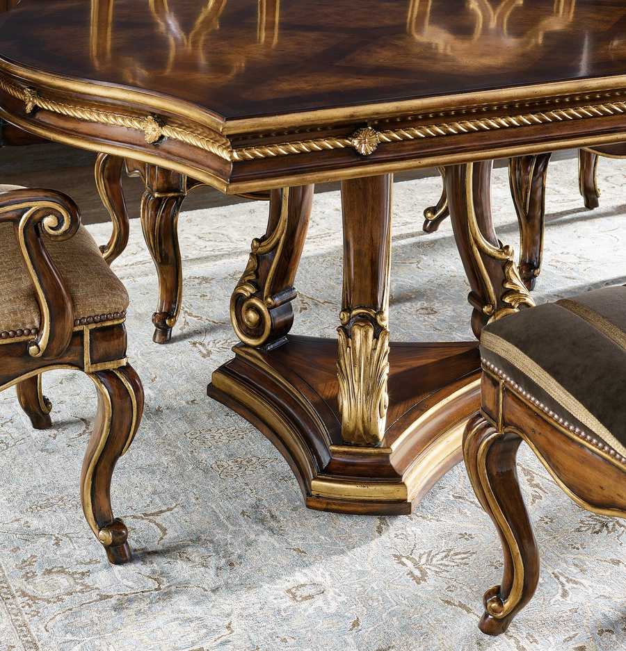 "Majorca Dining Table shown with:Briar finishVenetian Gold finish trim23"" leaf"