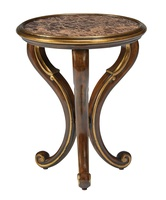 Majorca Chairside Table shown with:Briar finishVenetian Gold finish trimAntique Madeira Marble top