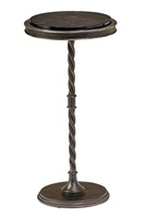 Majorca Chairside Table shown with:Blackened Iron finishAged Medici finish trimPolished Shell Raven top