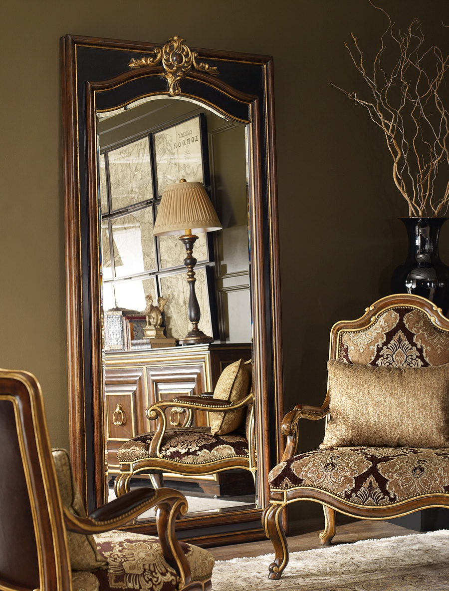 Majorca Floor Mirror shown with:Havana and Noche finishAged Venetian Gold finish trimClear Mirror