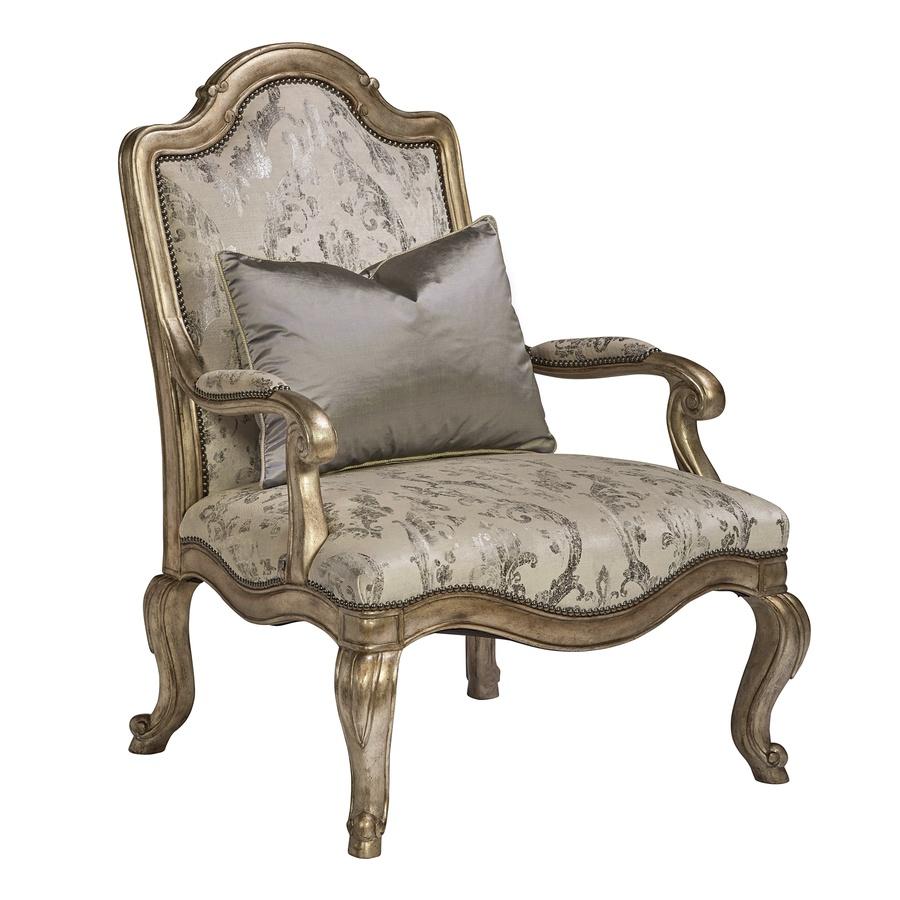 Majorca Chair shown with:Silver Cloud finishGunmetal nailhead frame trim