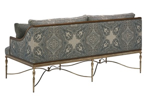 Majorca Sofa shown with:Old World Briar finish on exposed wood frameAntique Silver finish on decorative metal baseGunmetal nailhead frame trim