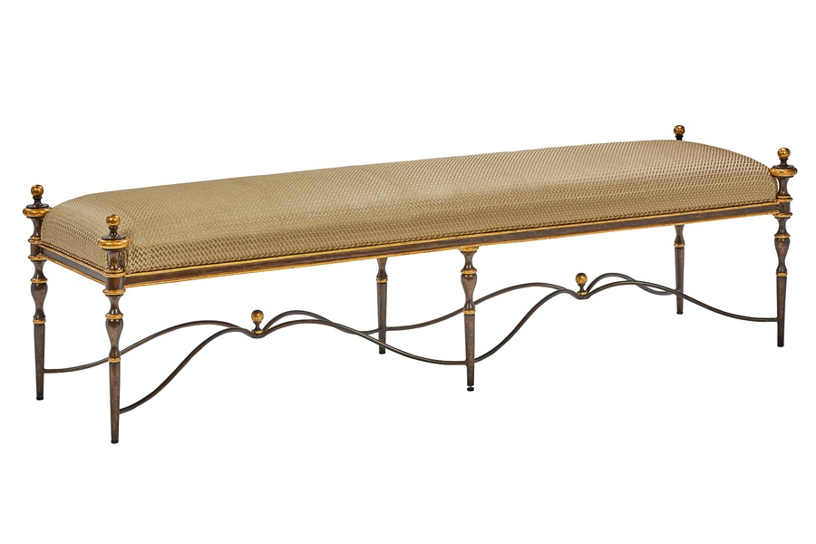 Majorca Bench shown with:Aged Metal finishAged Medici finish trim