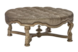 Majorca Cocktail Ottoman shown with:Silver Cloud finishGunmetal nailhead frame trim