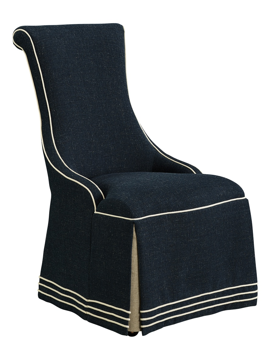 Majorca Side Chair shown with:Waterfall skirt with dressmaker back and sidesBraid trimTassel tie trim detail