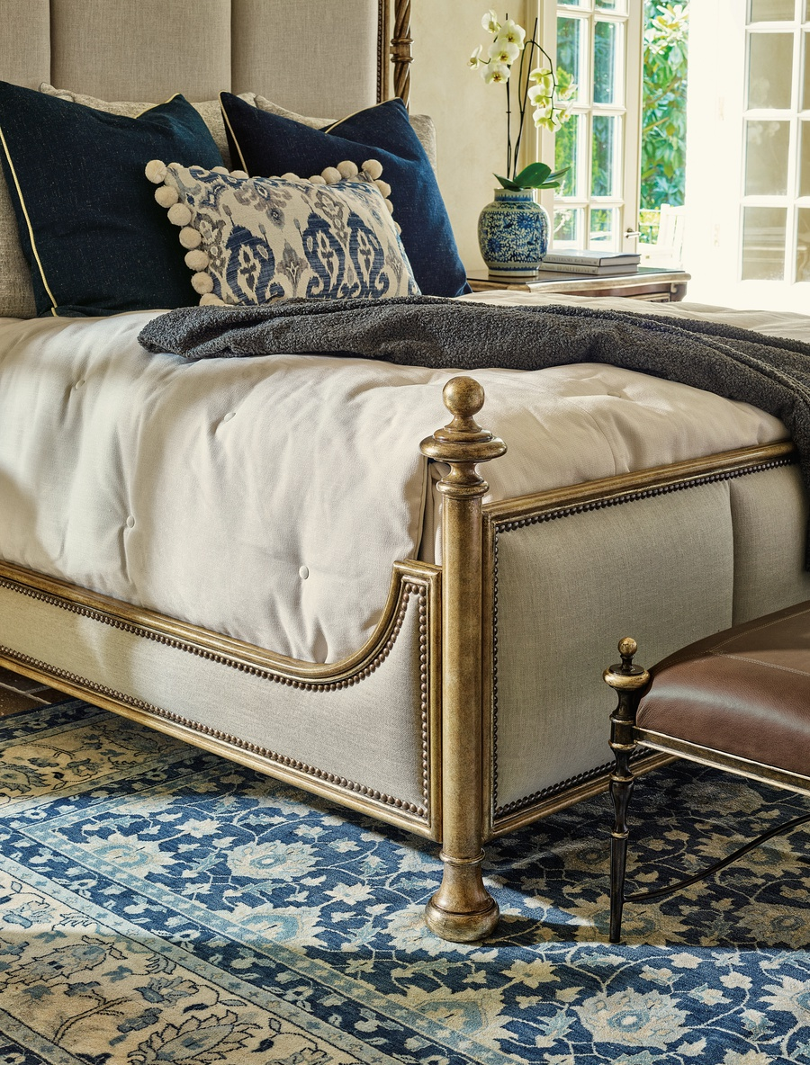 Majorca Poster Bed shown with:Pompeii finishAntique Silver finish trimAntique Heritage nailhead frame trim