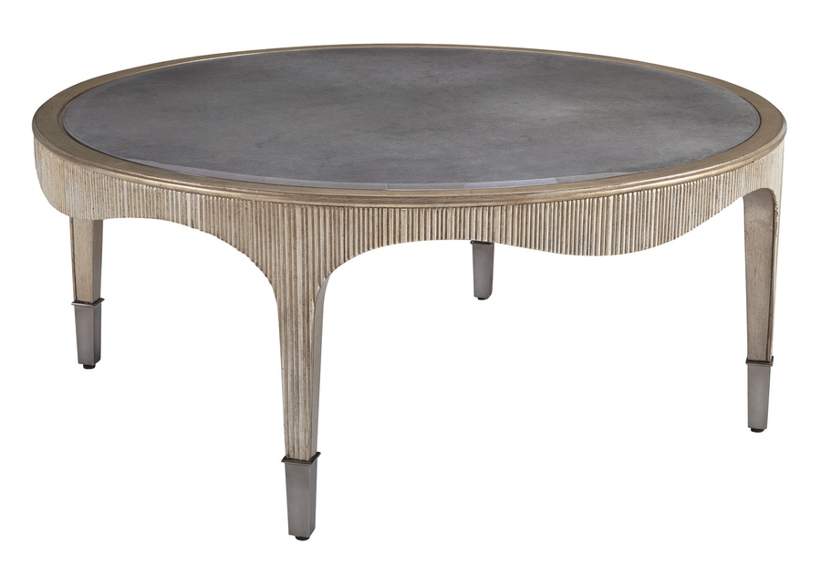 Maison Cocktail Table shown with:Riviera finishCashmere Silver finish on inside legAged Silver Cloud finish trimPlatinum Eglomise Mirror topPolished Nickel ferrules