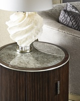 Maison End Table shown with:Riviera finishCashmere Silver finish on plinth baseCashmere Silver finish trimPlatinum Eglomise Mirror topAntique Nickel hardware