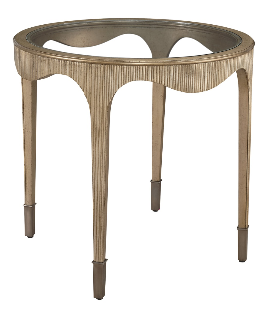 Maison End Table shown with:Burnished Silver finishBombay finish on inside legClear Glass topMedici Nickel hardware