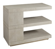 Maison End Table shown with:Ensemble finish Cashmere Silver finish on plinth baseEnsemble finish on center block