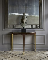 Maison Console shown with:Contemporary Briar finishCashmere Gold finish on inside legBurnished Silver finish trimBullion Eglomise Mirror topMedici Nickel ferrules