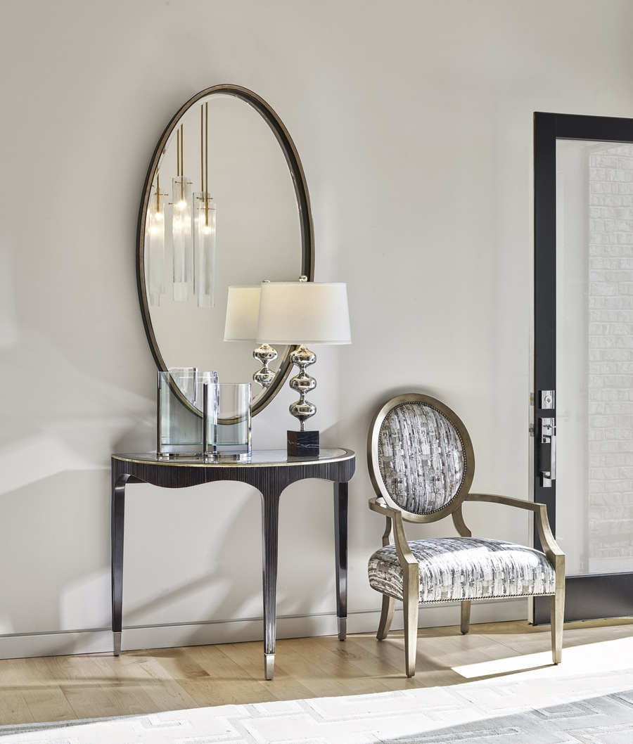 Maison Mirror shown with:Contemporary Briar finishBurnished Silver finish trim