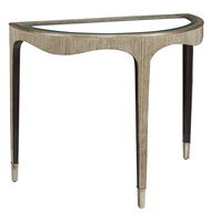 Maison Console shown with:Burnished Silver finishBombay finish on inside legClear Glass topMedici Nickel ferrules
