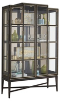Maison Display Cabinet shown with:Bombay finish on topBombay finish on baseBurnished Silver finish trimBombay interior finishBronze Mirror backMedici Nickel hardware