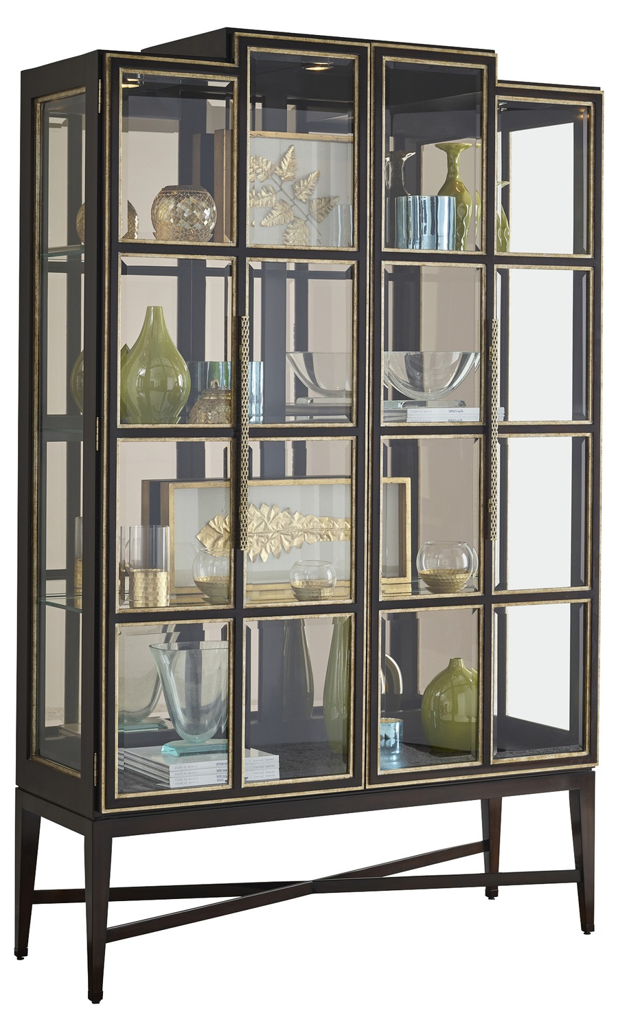 Maison Display Cabinet shown with:Latte finish on topCashmere Silver finish on baseAged Silver Cloud finish trimLatte contrast interior finishPlatinum Eglomise Mirror backAntique Nickel hardware