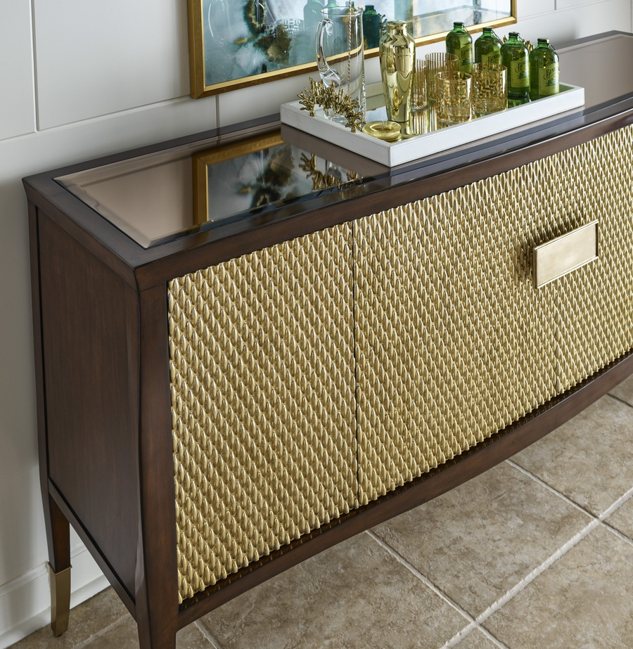 Maison Credenza shown with:Riviera finish on baseEnsemble finish on doorsPlatinum Eglomise Mirror topPolished Nickel / Medici Nickel hardwarePolished Nickel ferrules