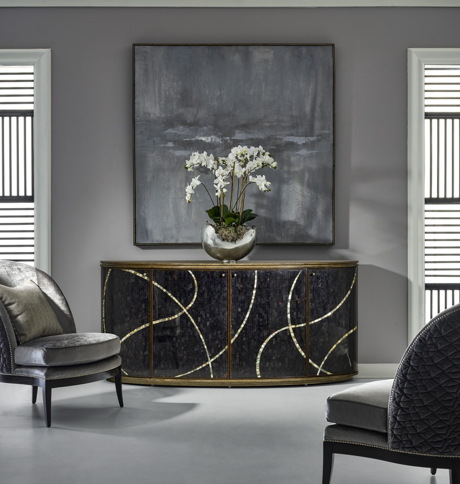 Maison Credenza shown with:Latte finish on baseSumatra finish on door frameDoors in Polished Shell Raven with Polished Shell Pewter inlayMedici Nickel hardware