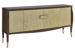 Maison Credenza shown with:Contemporary Briar finish on baseCashmere Gold finish on doorsBronze Mirror topMedici Nickel hardwareMedici Nickel ferrules