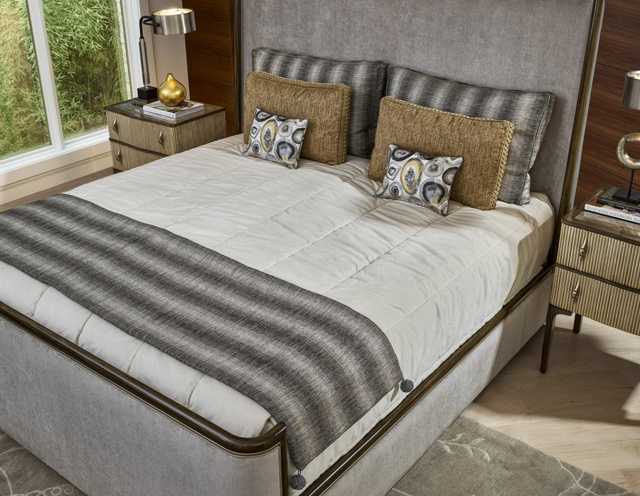 Maison Panel Bed shown with:Latte frame finishCashmere Silver finish on plinth baseUpholstered headboardWelt frame trim