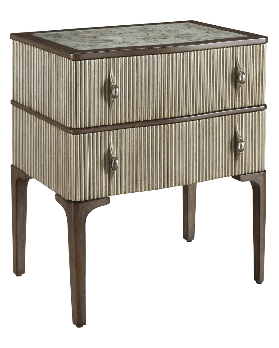Maison Nightstand shown with:Latte finish on baseCashmere Silver finish on doorsPlatinum Eglomise Mirror topAntique Nickel hardware