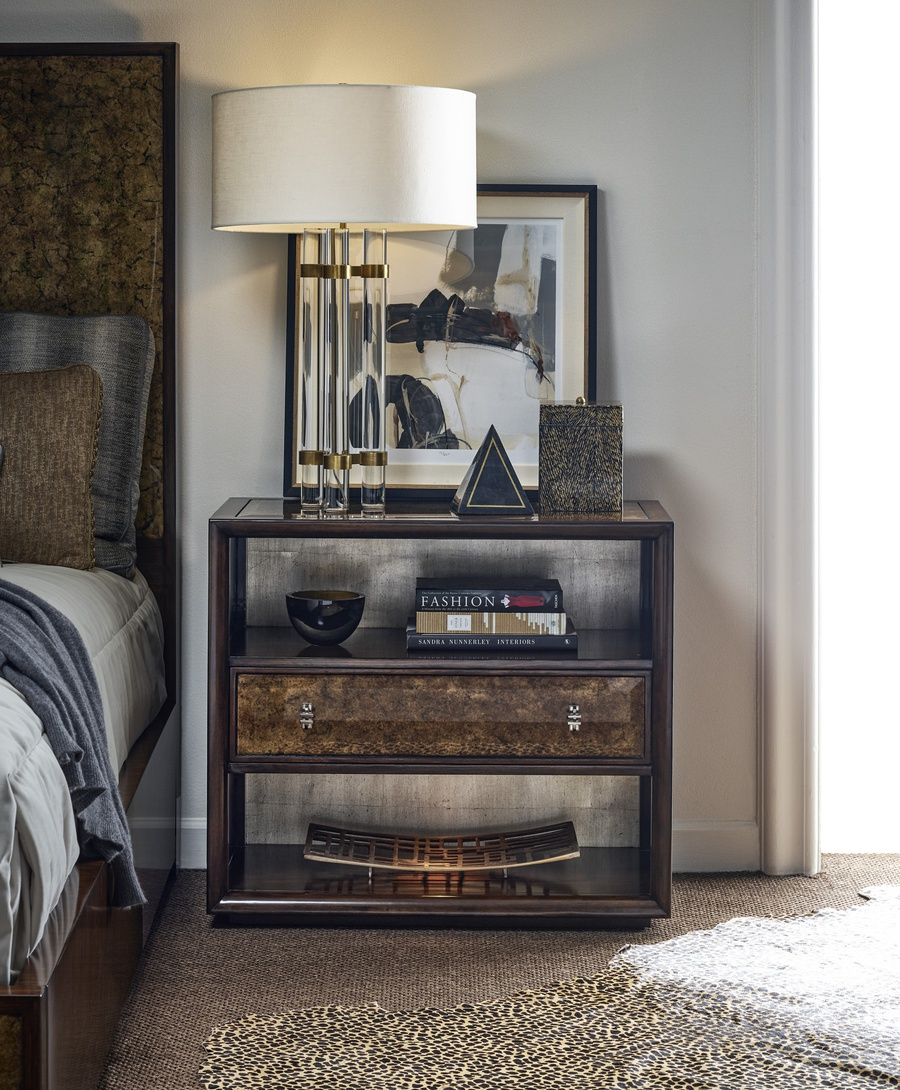Maison Nightstand shown with:Contemporary Briar finish on baseBullion Eglomise Mirror inset topAntique Silver finish on back panelBullion Eglomise Mirror drawersAntique Matte Nickel hardware