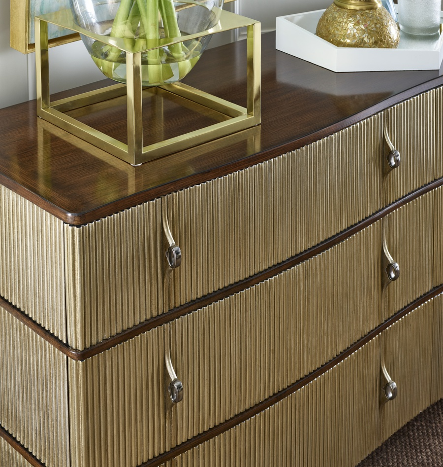 Maison Dresser shown with:Latte finish Cashmere Silver finish on drawers Platinum Eglomise Mirror top Antique Nickel hardware