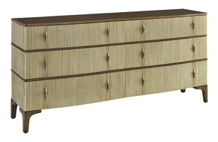 Maison Dresser shown with:Contemporary Briar finishCashmere Gold finish on drawersContemporary Briar finish on topAntique Matte Nickel hardware