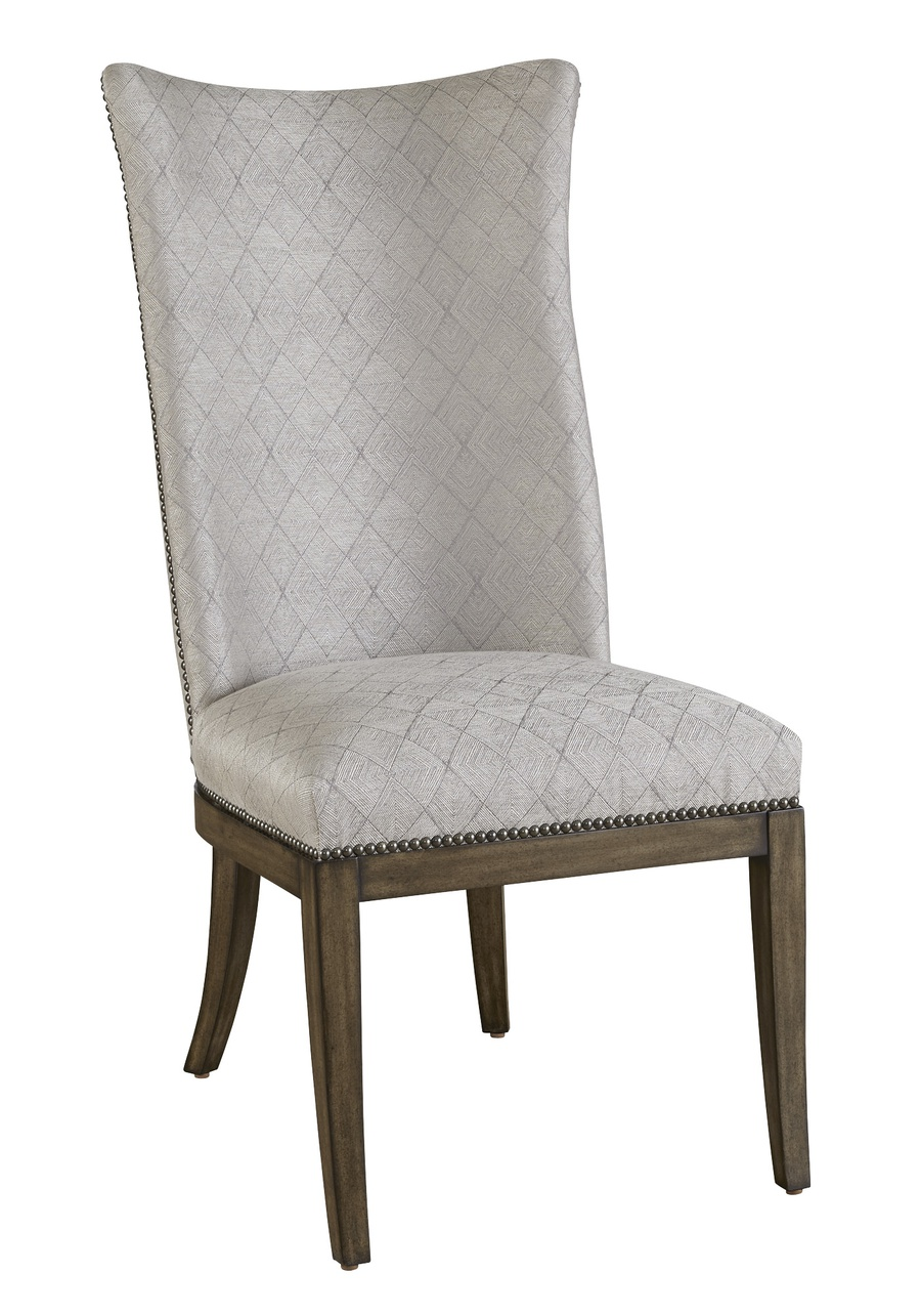 Maison Side Chair shown with:Latte finishGunmetal nailhead frame trim