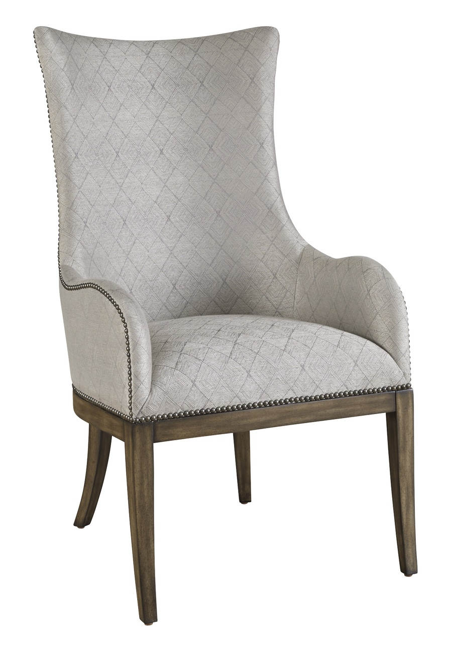 Maison Arm Chair shown with:Latte finishGunmetal nailhead frame trim