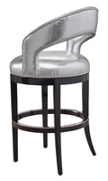Maison Barstool shown with:Ebony finishSilver nailhead frame trimPolished Nickel footrest