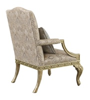 Mayson Chair shown with:Tight seat and backSpecial hand painted decorative motifExposed carved frame in Pompeii finishDeco Silver Leaffinishtrim Exposed frame available in selection of finishes and optional finish trims