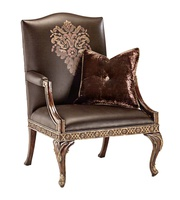 Mayson Chair shown with:Tight seat and backSpecial hand painted decorative motifExposed carved hardwood frameAntique Brassnailhead frame trim Exposed frame available in selection of finishes and optional finish trims