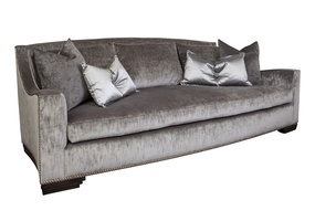 McKenna Sofa shown with:Boxed bench seatPlinth base with Bombay finishSilver nailhead frame trim