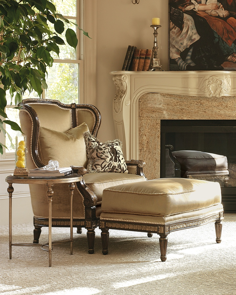Madeleine Chair shown with:Boxed seat cushionExposed carved hardwood frameBronze Star nailhead frame trim