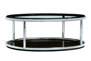 Malibu Cocktail Table shown with: Bombay finishStainless Steel frame Inset clear glass top with beveled edge