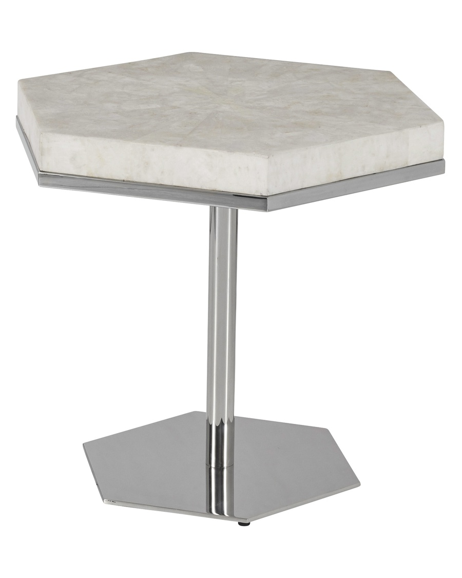 Malibu Bunching Cocktail Table shown with:Stainless Steel FramePolished Crystal Stone Alabaster top
