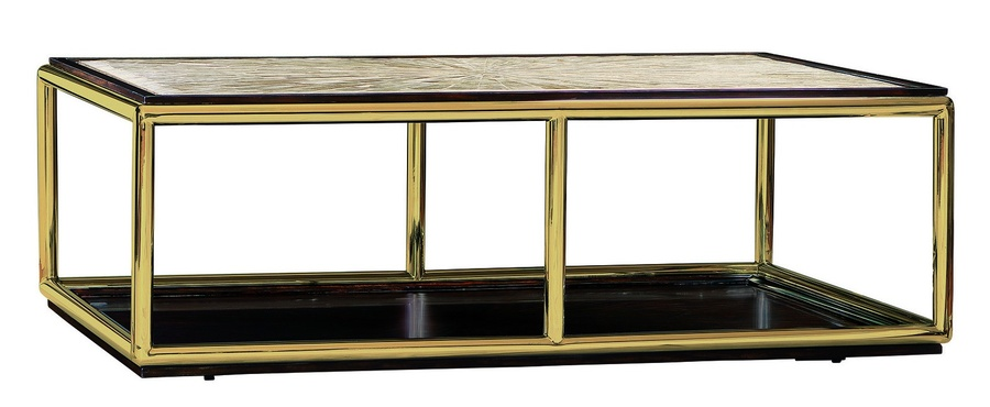 Malibu Cocktail Table shown with:Bombay finishSatin Brass frameTextured Crystal Stone Beige top