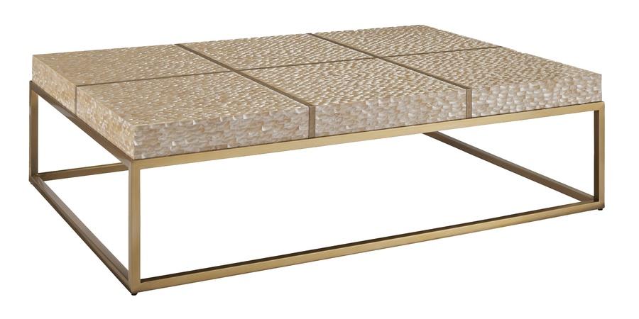 Malibu Cocktail Table shown with:Satin BrassFramePompeii finish on top gridPolishedSilver Mosaic Shelltop