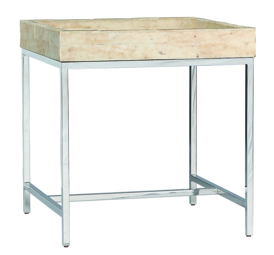 Malibu Bunching Table shown with:Stainless Steel frameTextured Crystal Stone Beige top