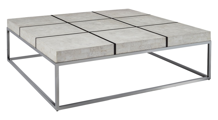 Malibu Cocktail Table shown with:Stainless Steel FrameBombay finish on top gridPolished Crystal Stone Alabaster top