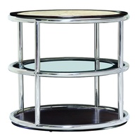 Malibu Round End Table shown with:Stainless Steel metal frameBombay FinishTextured Crystal Stone Taupe top
