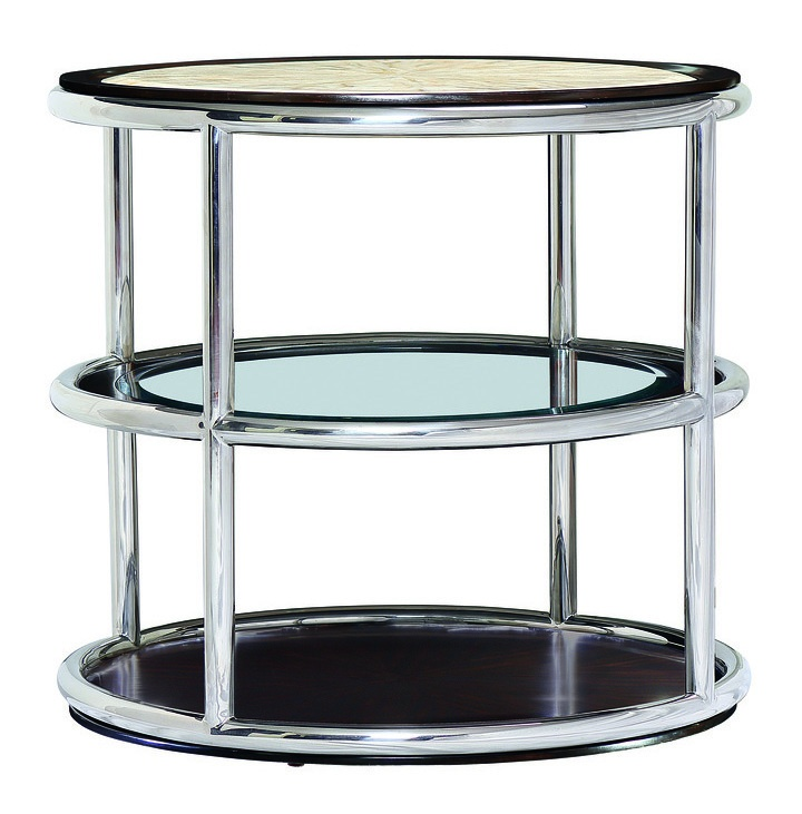Malibu Round End Table shown with:Satin Brass metal frameBombay FinishClear glass top and shelf with beveled edge