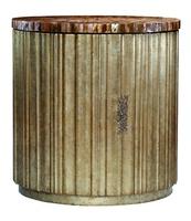 Malibu Round DoorChest shown with:Burnished SilverfinishPolished Honey shelltopPolished Nickel hardware