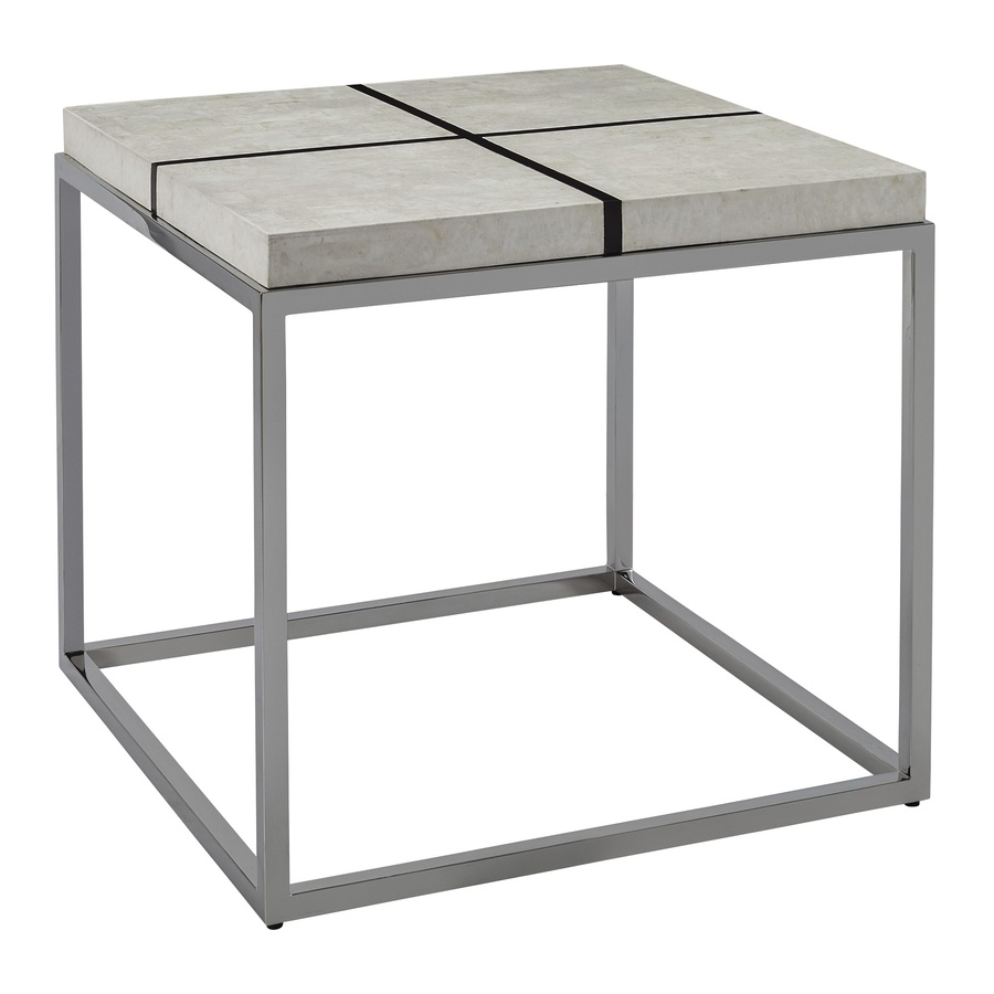 Malibu End Table shown with:Stainless Steel FrameBombay finish on top gridPolished Crystal Stone Alabaster top