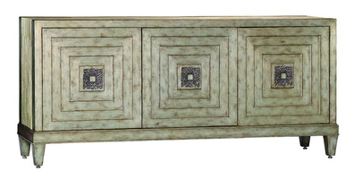 Malibu Credenzashown with:Silver CloudfinishPolished Crystal Stone Taupe waterfalltop and sidesPolishedNickel hardware