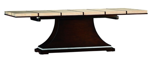 Malibu Dining Tableshown with:KonafinishStainless Steel accent bandPolished Crystal Stone Beige top