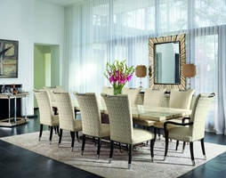 Malibu Dining Room Malibu Side Chairshown with:Tight seat and backBombayfinishPolished Nickel hardware and ferrules at feetSilver nailhead frame trim