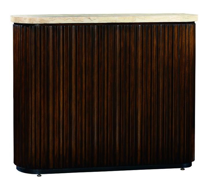 Malibu TV Console shown with:KonafinishEbony finish on plinth basePolishedCrystal Stone Beige top